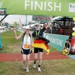 Lauftouristen im Ziel des Two Ocean Marathon