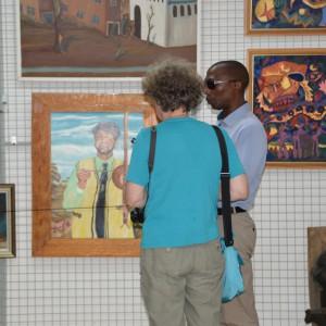 Curator VG Booi and artist Dagmar Schmidt